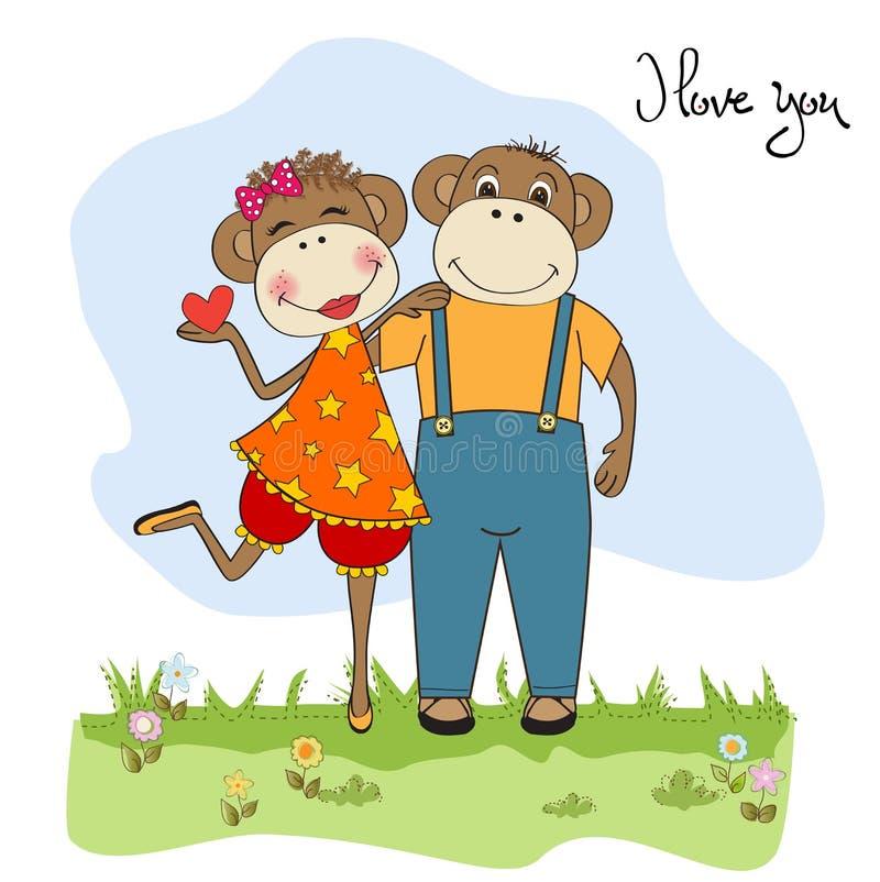 Download Małpy Dobierają Się W Miłości Ilustracja Wektor - Ilustracja złożonej z grafika, śmieszny: 28966242