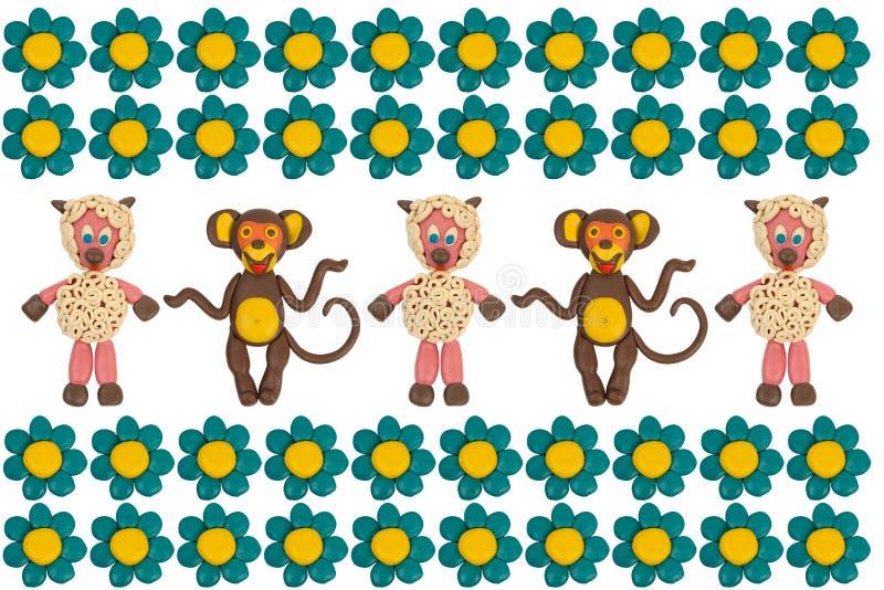 Małpy i cakle w kwiatach obrazy royalty free