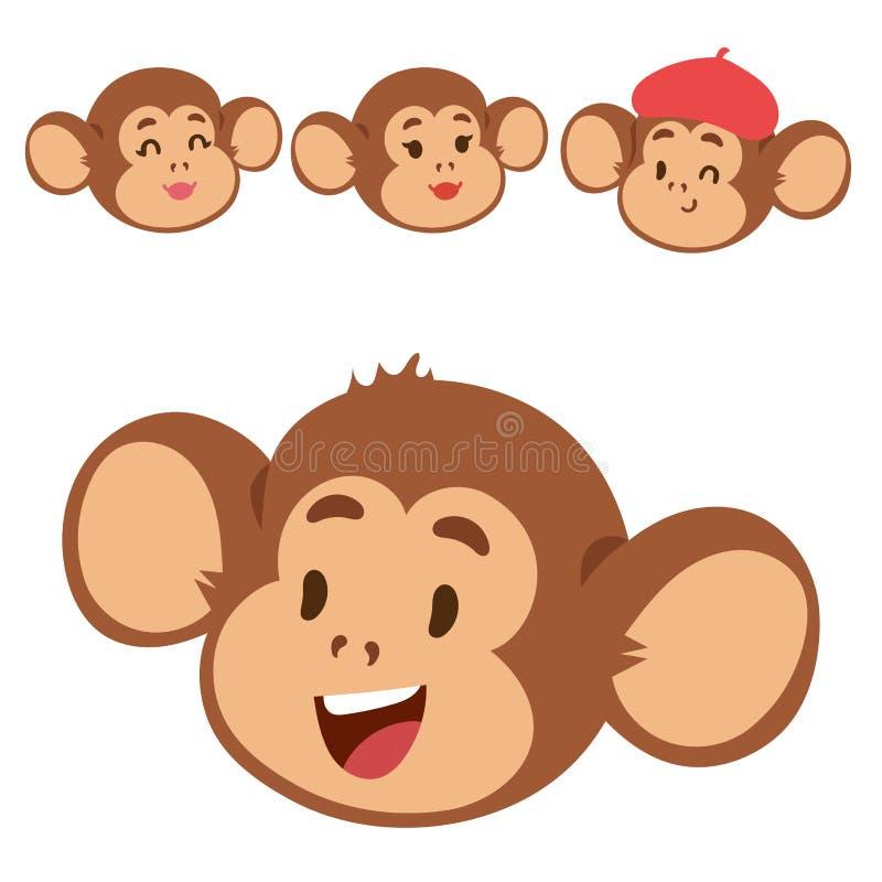 Małpy kreskówki makaka rzadka zwierzęca wektorowa głowa jak ludzie natura prymasu charakteru zoo małpy dzikiego szympansa royalty ilustracja