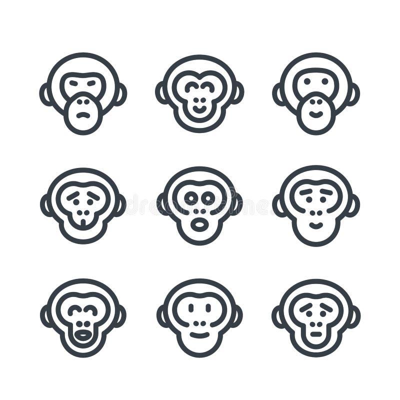 Małpy, małpa, szympans liniowe ikony nad bielem ilustracja wektor