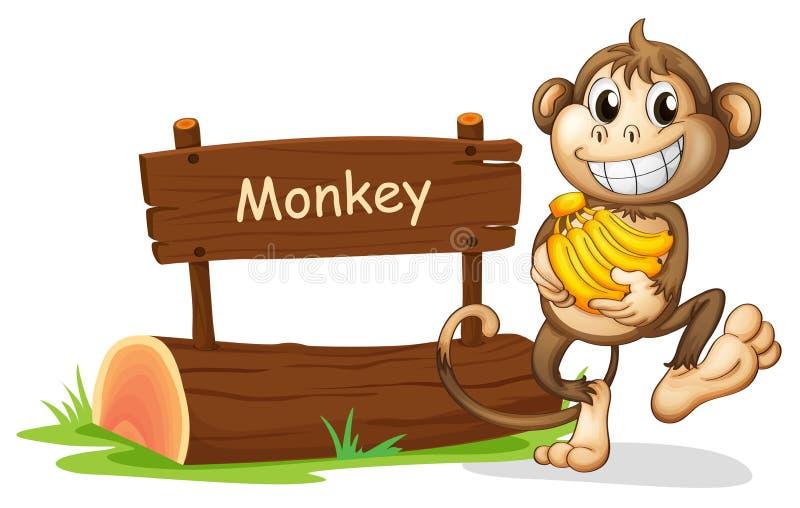Małpy mienia banany ilustracja wektor