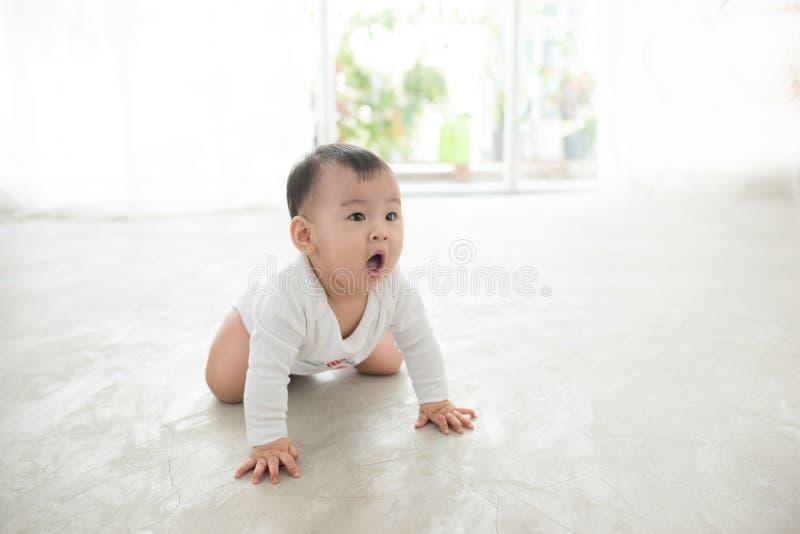 Mały ładny dziewczynki czołganie na podłoga w domu obraz royalty free