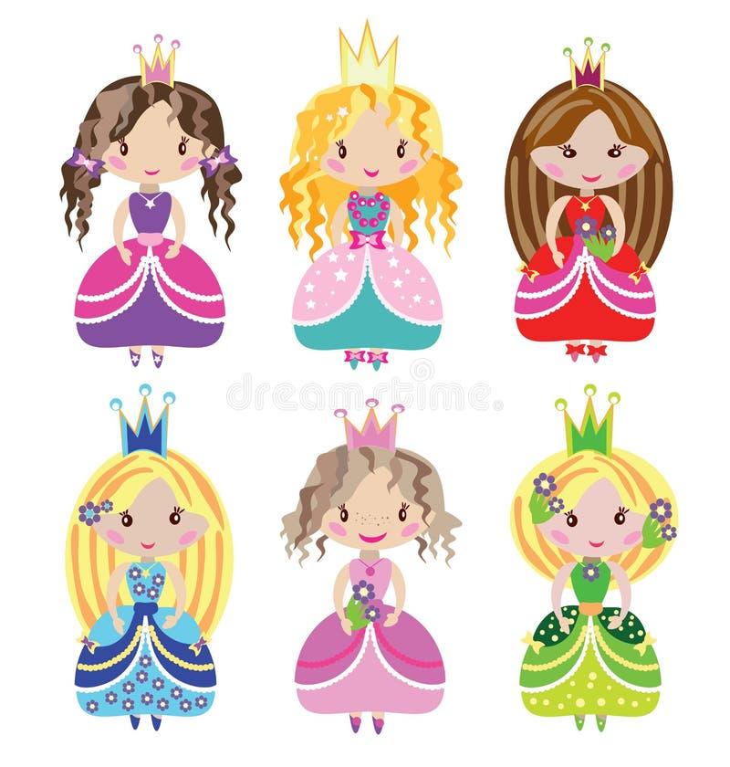 Mały ładny princess zestaw ilustracji