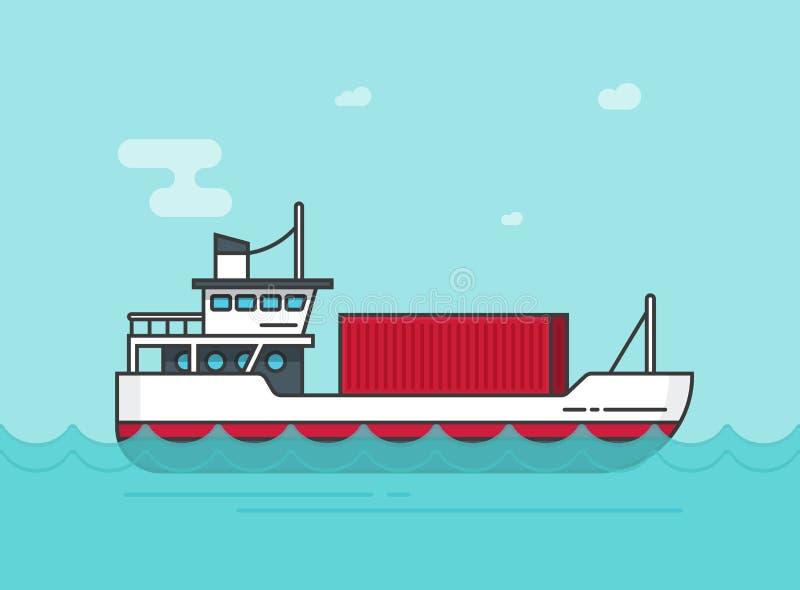 Mały ładunku statek unosi się na ocean wektorowej ilustraci, płaska kreskówki wysyłki freighter łódź na morzu macha przewożenie ł royalty ilustracja