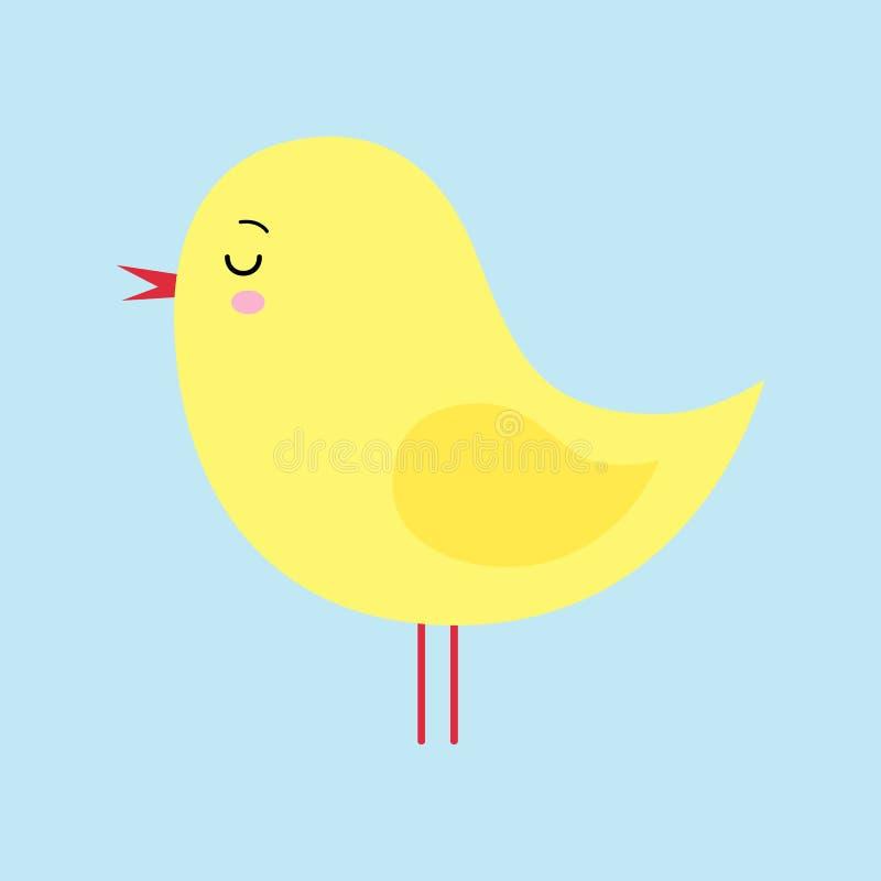 Mały śliczny żółty kreskówki kurczątko odizolowywający na błękitnym tła kawaii ilustracji