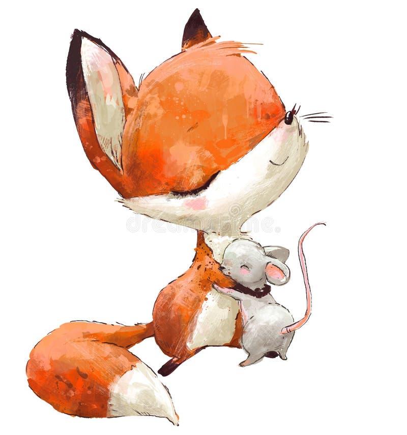 Mały Śliczny akwarela lis z myszą ilustracja wektor