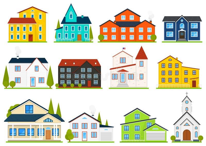 Mały śliczny dom lub mieszkania Rodzinny amerykański dom miejski Sąsiedztwo z wygodnym stwarza ognisko domowe Tradycyjna Nowożytn royalty ilustracja