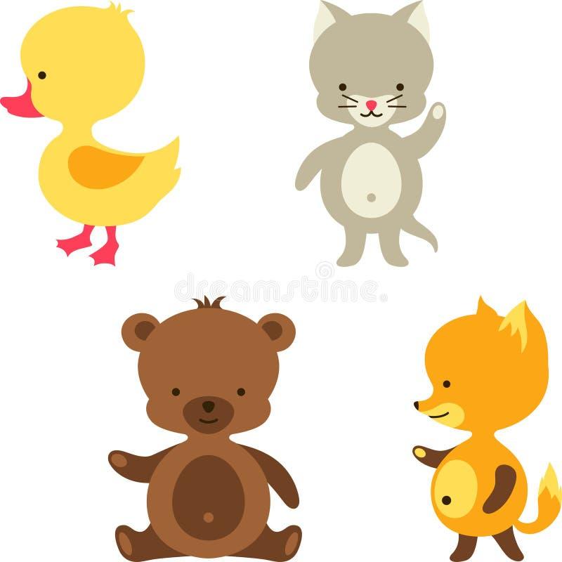 Mały śliczny dziecko kot, niedźwiedź, lis i kaczka, ilustracja wektor