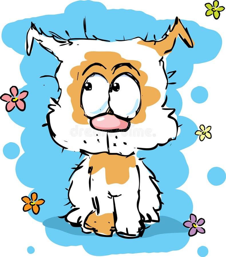 Mały śliczny kostrzewiasty szczeniaka pies - kolorowy nakreślenie royalty ilustracja