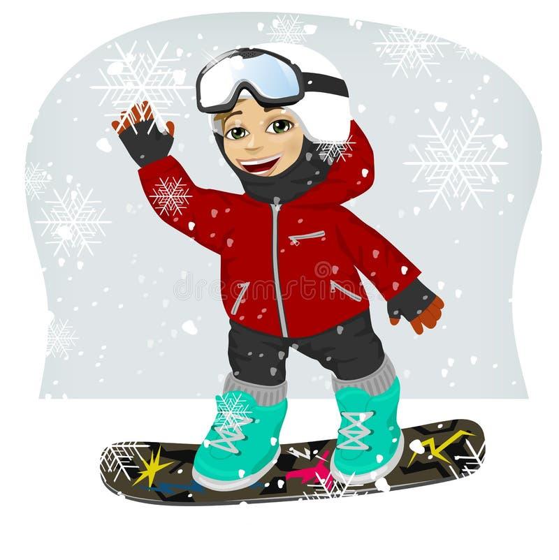 Mały śliczny męski snowboarder przy ośrodkiem narciarskim ilustracja wektor