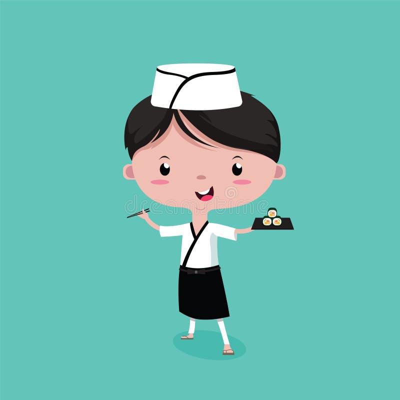 Mały Śliczny, młody człowiek suszi szef kuchni, wektorowa kreskówka royalty ilustracja
