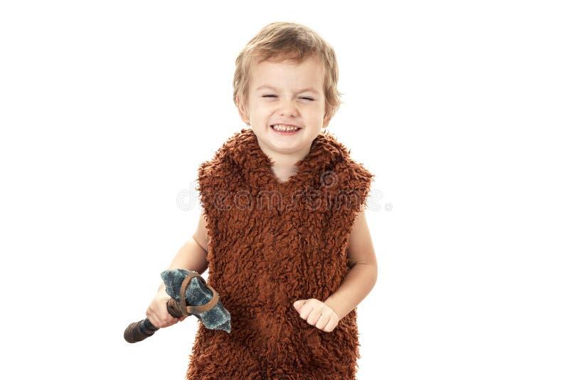 Mały śmieszny chłopiec neandertalczyk, cro lub trochę fotografia stock