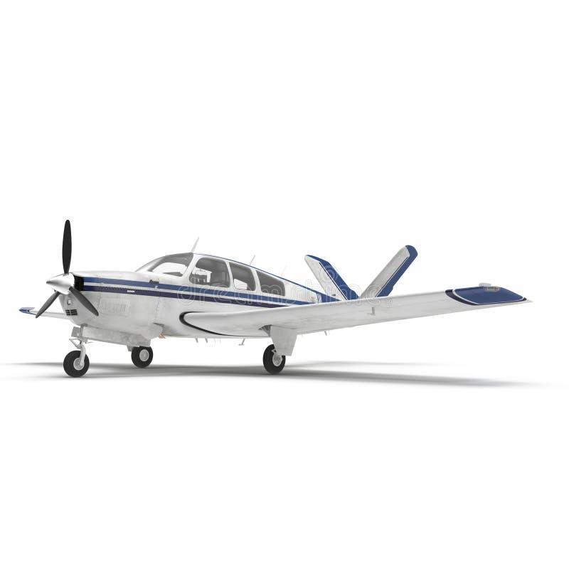 Mały śmigłowy samolot odizolowywający na bielu ilustracja 3 d royalty ilustracja