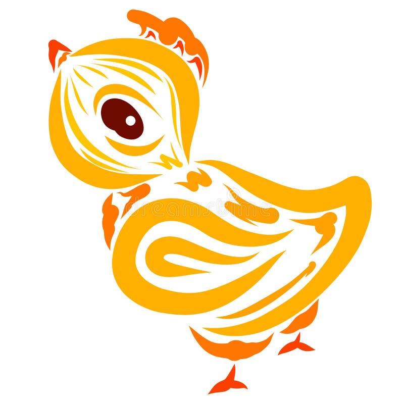 Mały żółty cockerel z grzebionatką na jego głowie ilustracji