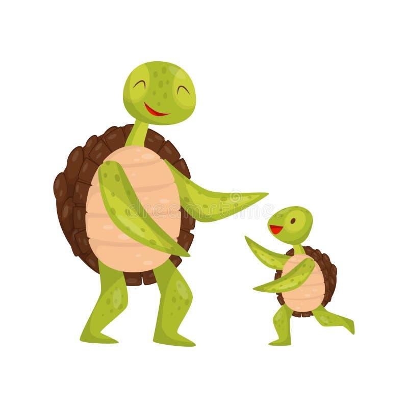 Mały żółwia bieg w kierunku jego tata Uroczy morscy zwierzęta Denny gad Płaski wektorowy element dla dziecko książki lub ilustracji