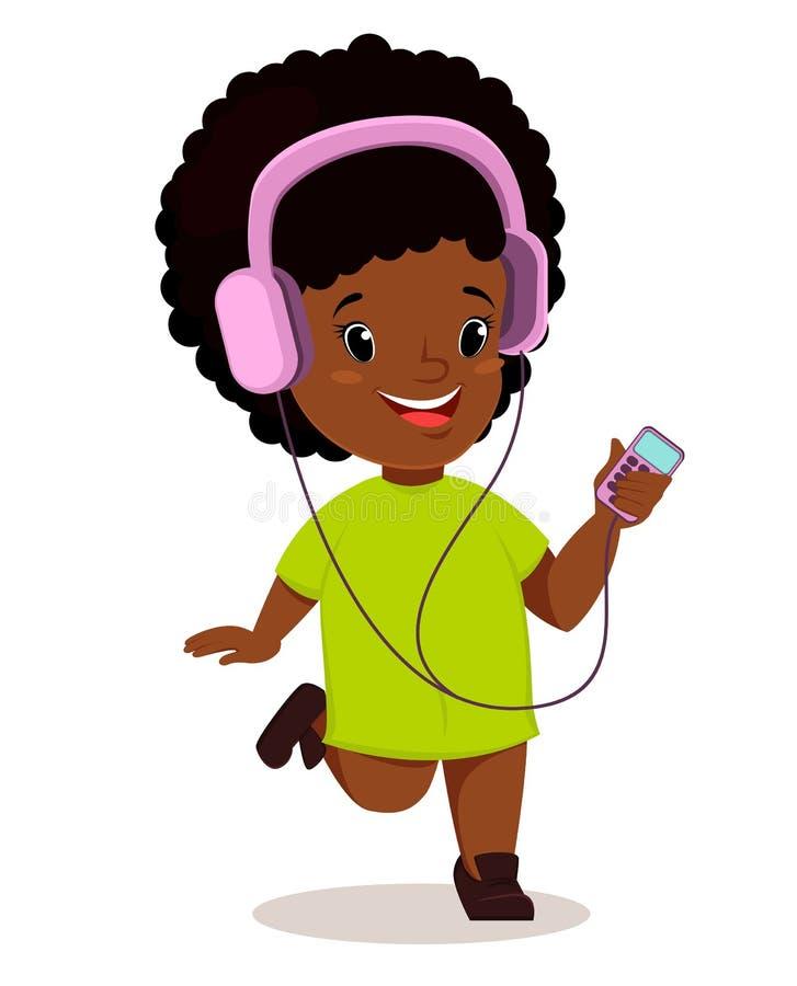 Mały Afrykański dziewczyna bieg, słuchanie muzyka i Śliczny postać z kreskówki royalty ilustracja
