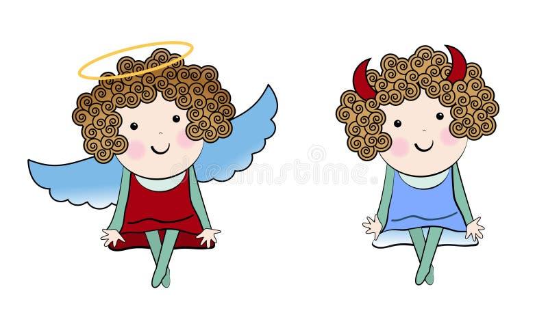 Mały anioł i Mały diabeł royalty ilustracja