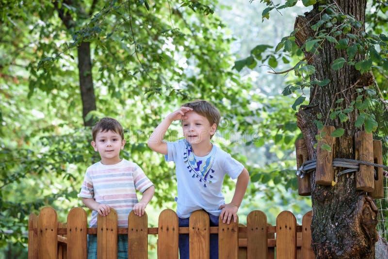 Mały arywista bierze linowego most Chłopiec zabawa czas, dzieciaka pięcie na pogodnym ciepłym letnim dniu obraz stock