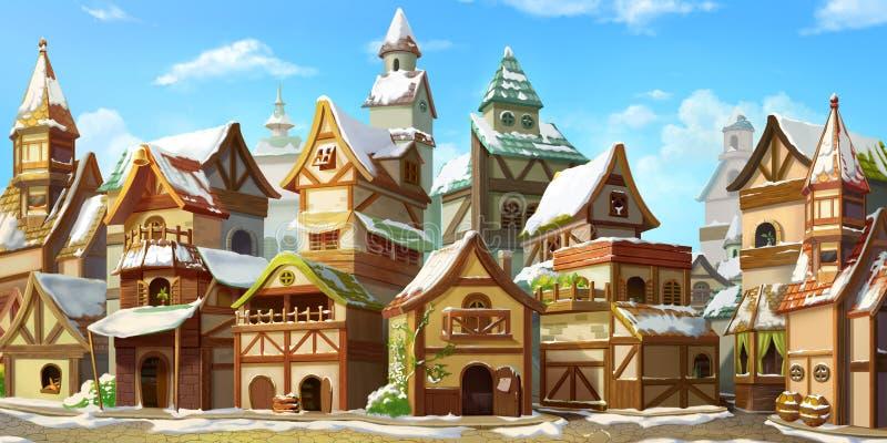 Mały bajki miasteczko w zimie z śniegiem ilustracja wektor