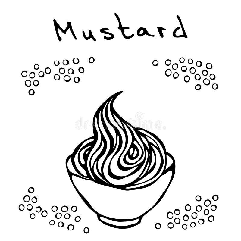 Mały Biały puchar musztarda i musztard ziarna Kumberland dla fasta food lubi hot dog Realistyczna ręka rysująca ilustracja Sabaud royalty ilustracja