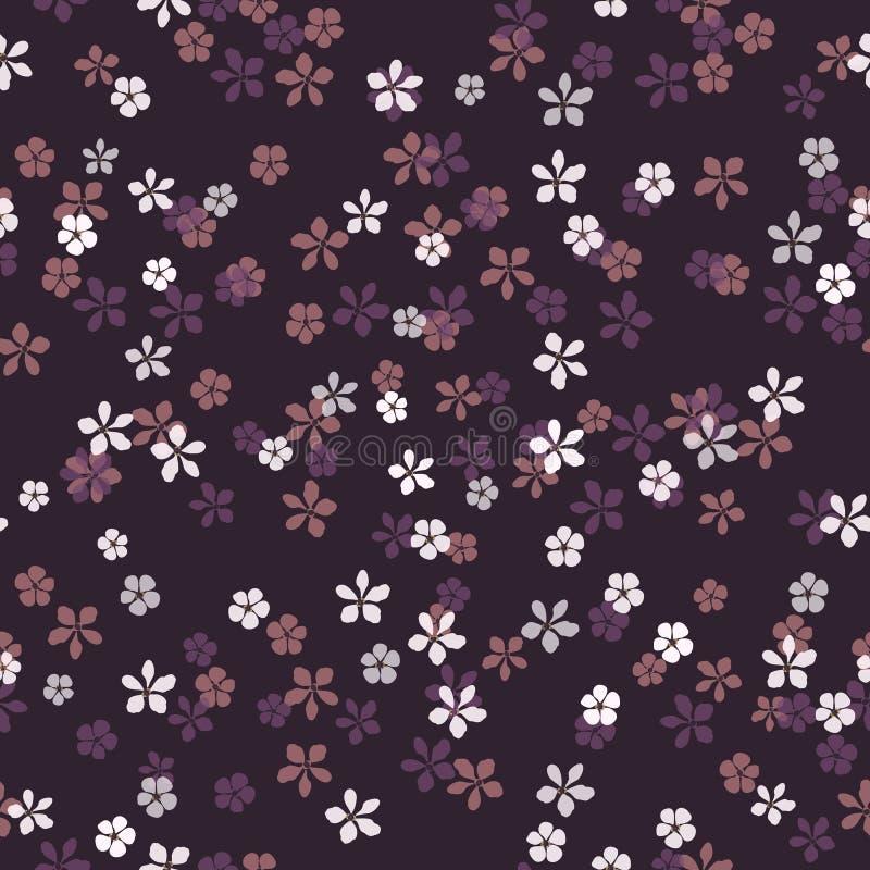 Mały biel, menchie i bzów kwiaty na purpurowym tle, Ciemny nocy łąki tło royalty ilustracja