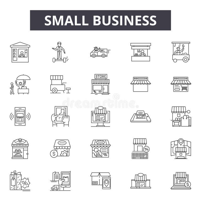 Mały biznes linii ikony, znaki, wektoru set, kontur ilustracji pojęcie royalty ilustracja