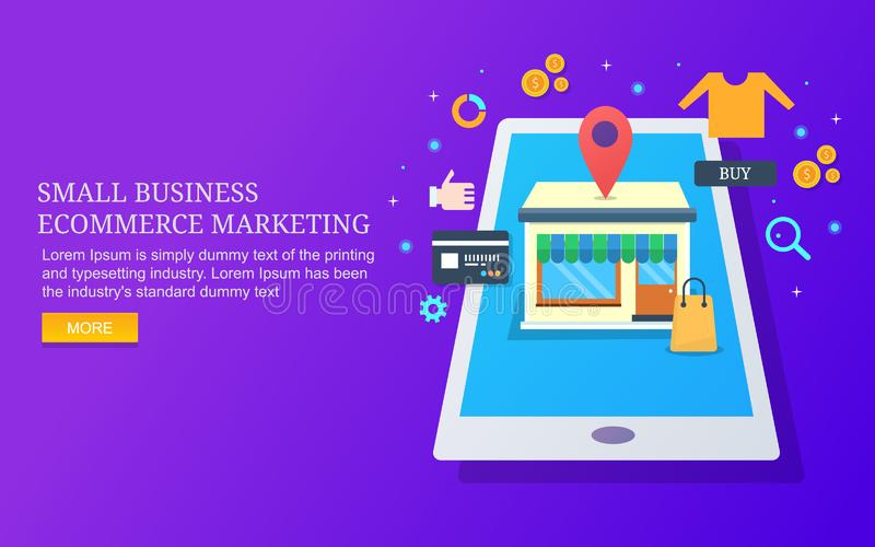 Mały biznes optymalizacja, ecommerce sklep, cyfrowy marketing, online zakupy ilustracja wektor