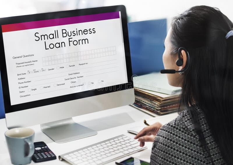 Mały Biznes pożyczki formy kredytów podatkowych niszy pojęcie zdjęcie royalty free