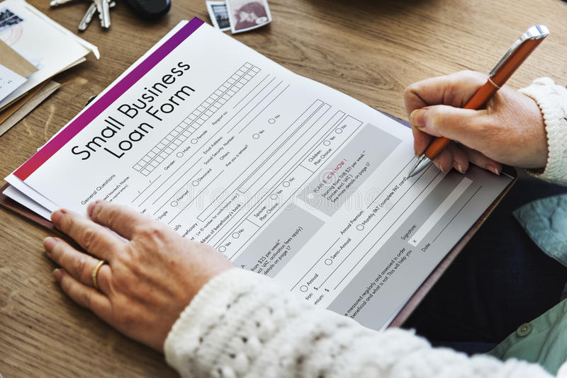 Mały Biznes pożyczki formy kredytów podatkowych niszy pojęcie fotografia royalty free