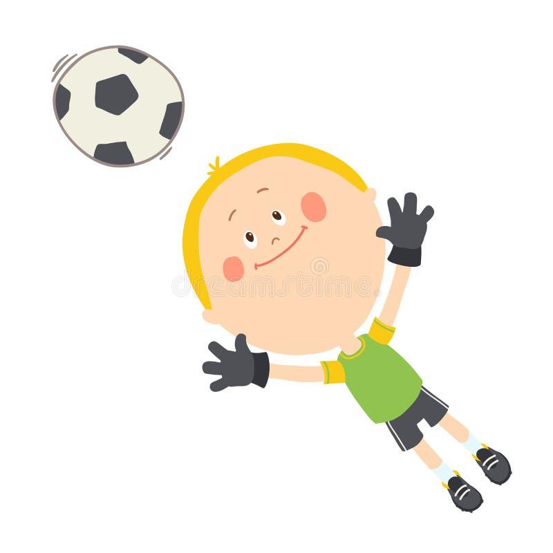 Mały bramkarz łapie piłki nożnej piłkę Śliczna chłopiec bawić się piłkę nożną na boisku piłkarskim Szcz??liwy dzieciak bawi? si?  royalty ilustracja
