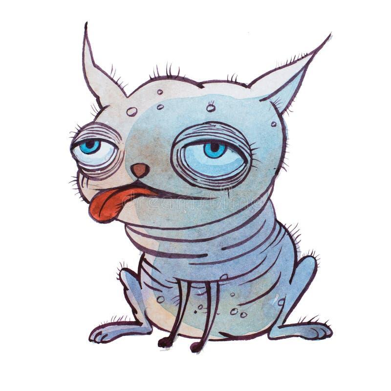 Mały brzydki łysy kreskówka pies z dużymi bufiastymi oczami ustawia zupełnie daleko w oddaleniu rękę rysującą z akwarelami ilustracji