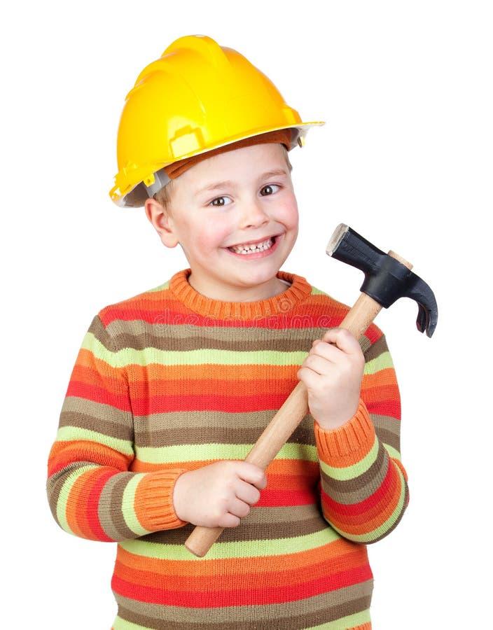 mały budowa pracownik zdjęcia stock