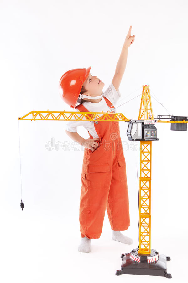 Download Mały Budowniczy I żuraw Na Białym Tle Obraz Stock - Obraz złożonej z yellow, preschool: 28970049