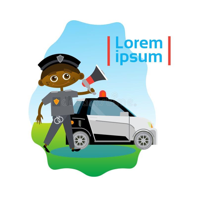Mały chłopiec policjant Nad samochodu policyjnego amerykanina afrykańskiego pochodzenia dzieciaka oficerem ilustracji