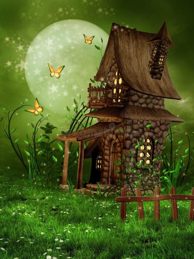 Mały czarodziejka dom ilustracja wektor