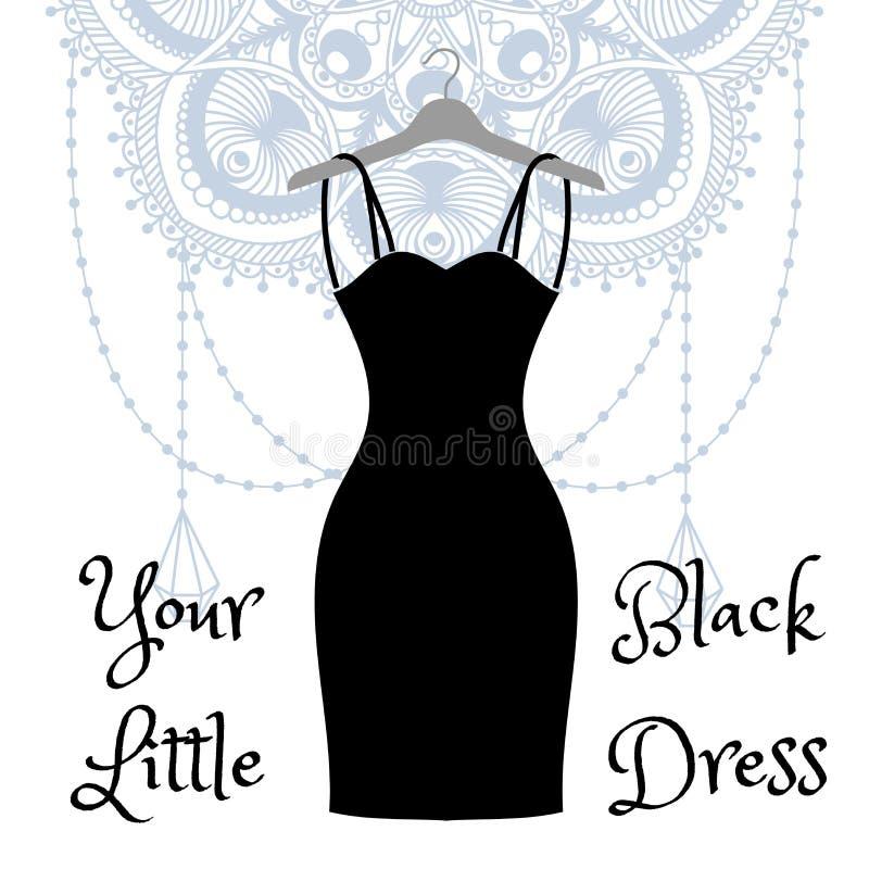 Mały czerni sukni obwieszenie na wieszaku royalty ilustracja