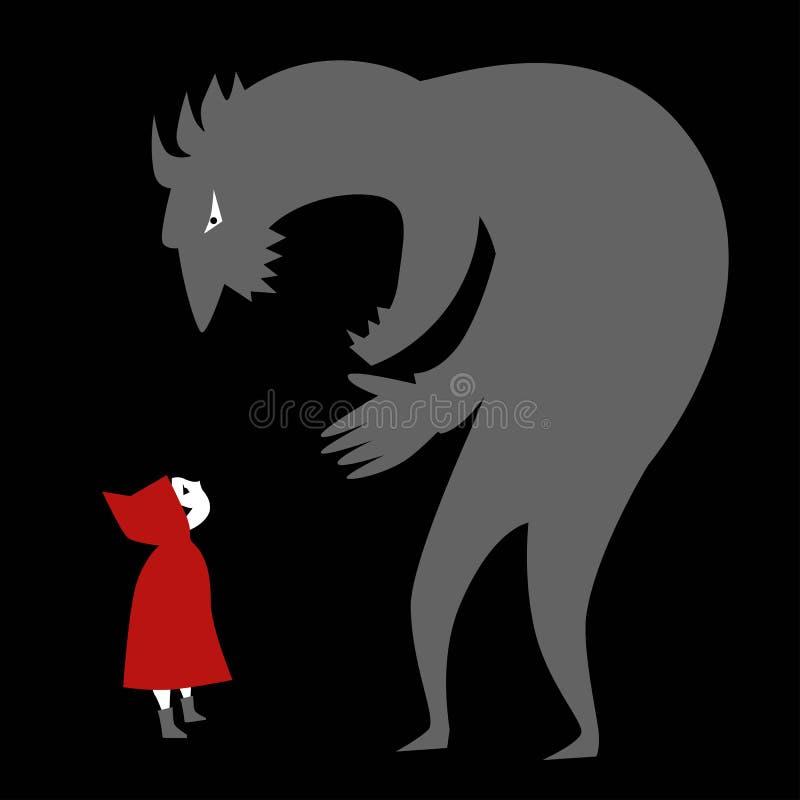 Mały czerwony jeździecki kapiszon i drapieżnik ilustracji