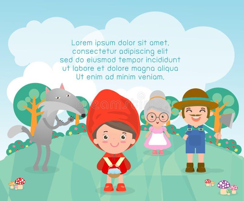 Mały Czerwony Jeździecki kapiszon, szablon dla reklamowej broszurki, twój tekst, Śliczny Mały Czerwony Jeździecki kapiszon, dziec ilustracja wektor