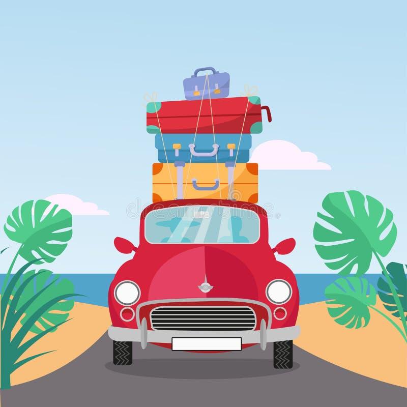 Mały czerwony retro samochód jedzie od morza z stertą walizki na dachu P?aska kresk?wka wektoru ilustracja Samochodowy frontowy w ilustracja wektor