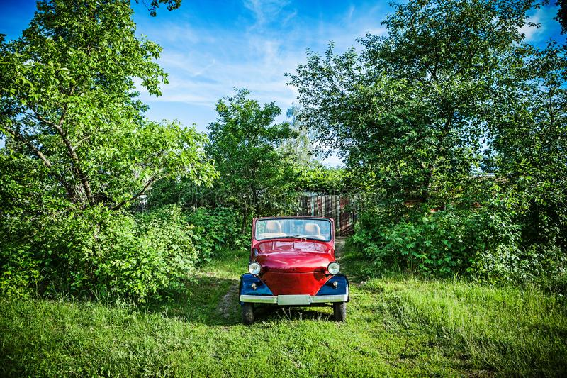 Mały czerwony retro samochód w zielonych krzakach zdjęcia stock