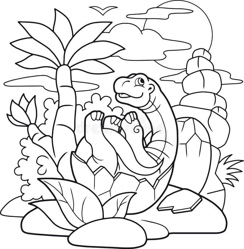 Mały dinosaur klujący się od jajka ilustracji