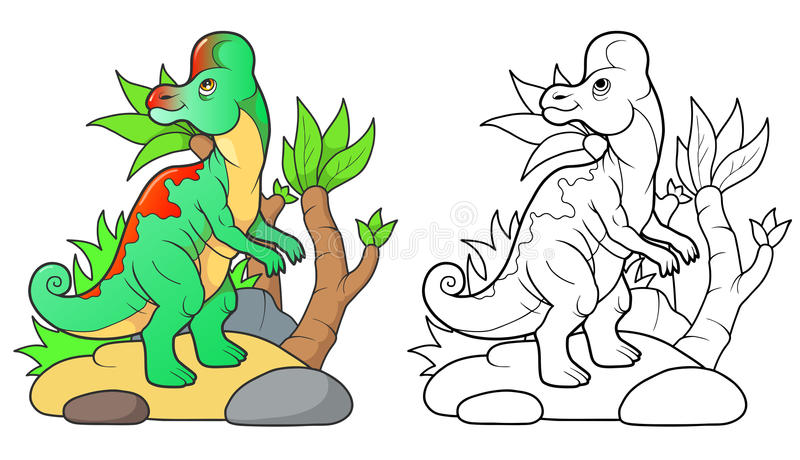 Mały dinosaura odprowadzenie ilustracja wektor