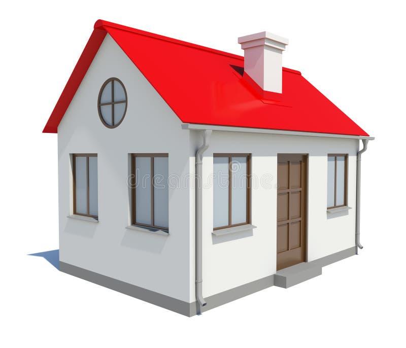 Mały dom z czerwień dachem na białym tle obraz royalty free