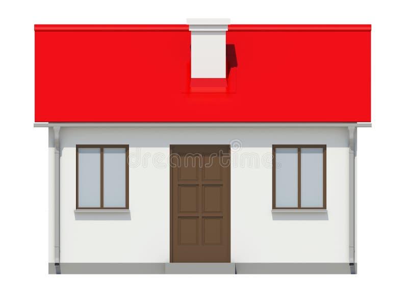 Mały dom z czerwień dachem na białym tle obrazy royalty free