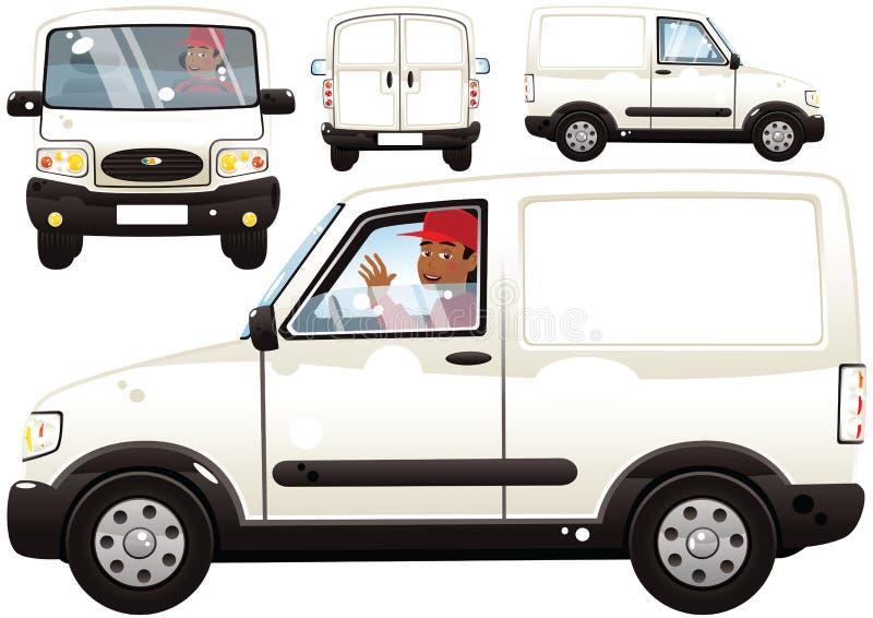 Mały doręczeniowy samochód dostawczy i kierowca ilustracja wektor