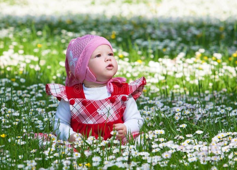 Mały dziecko na zielonej trawie i kwiatach fotografia stock
