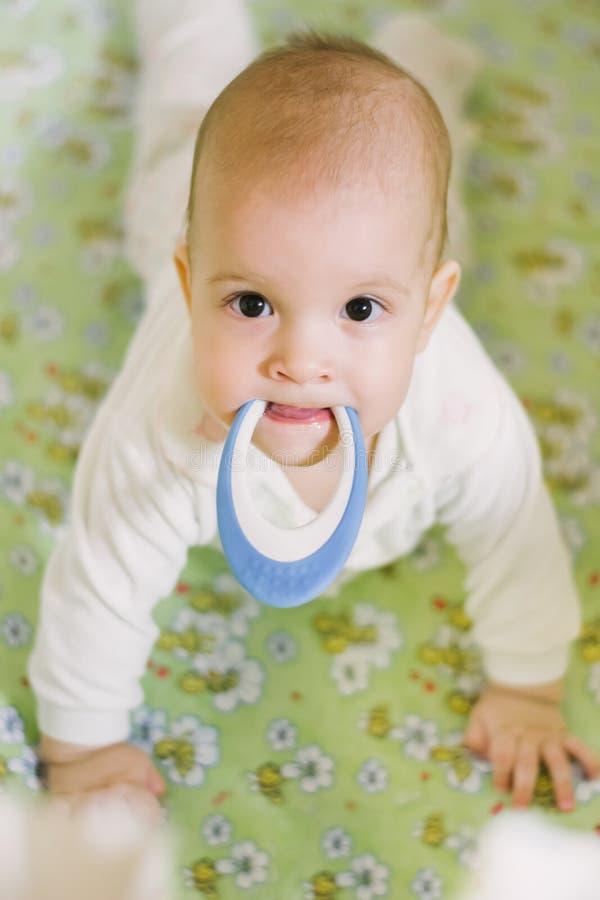 Mały dziecko trzyma zabawkę w usta zdjęcia stock