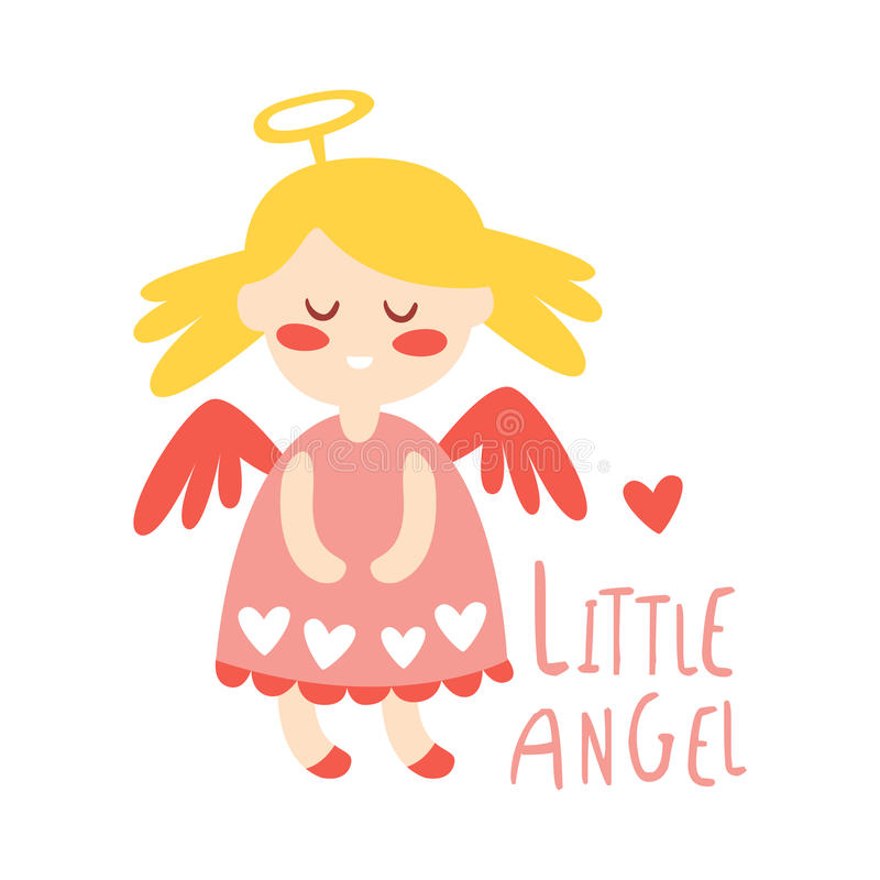Mały dziewczynka anioł Kolorowa ręka rysująca wektorowa ilustracja ilustracji