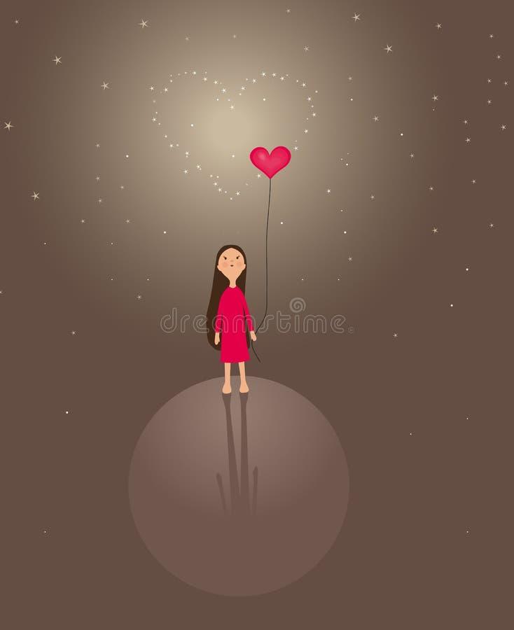 mały dziewczyny serce ilustracji