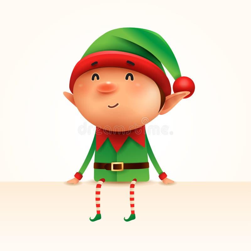 Mały elf siedzi przy krawędzią odosobniony ilustracja wektor